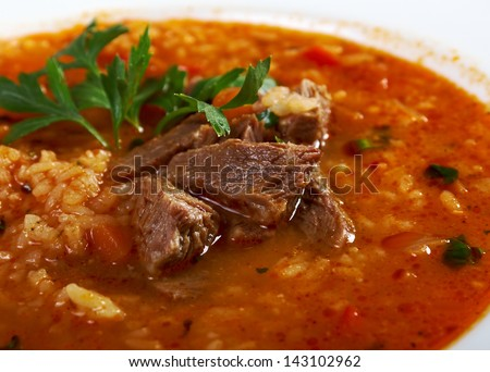 Soup Kharcho, traditional Georgian soup with meat and rice