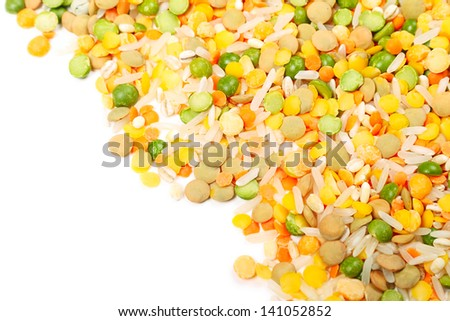 Soup medley. Background with a picture of grain and cereals