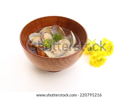 Soup of clams - stock photo