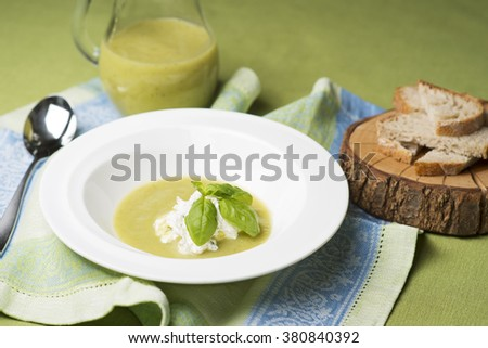 Soup of green vegetables  - stock photo
