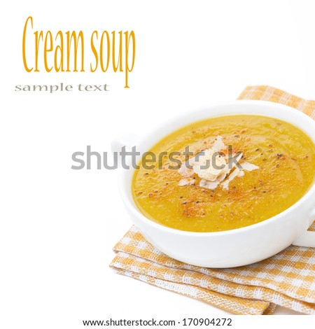 soup of yellow lentils with vegetables, isolated on white - stock photo