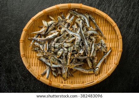 Soup stock of dried small sardines Japan(niboshi) - stock photo