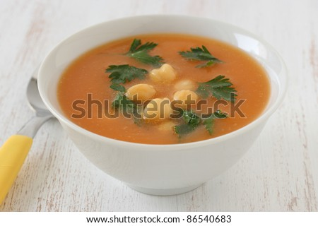soup with chick-pea and parsley