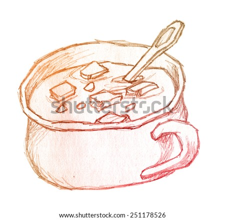 soup with croutons in bowl - raster stylized hand drawing - stock photo