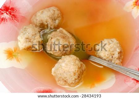 soup with dumplings - stock photo