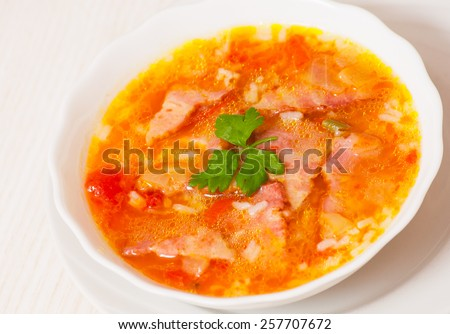 soup with meat, rice and vegetables - stock photo