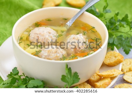 Soup with meatballs and vegetables