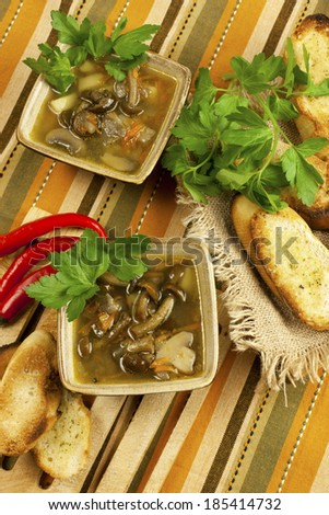 Soup with mushroom and bread - stock photo