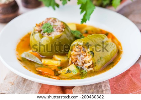 Soup with peppers stuffed meat and rice, potatoes, dolma shurpa, sorba, oriental traditional dish - stock photo
