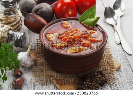 Soup with red beets and meat. Russian traditional dish. Borsch