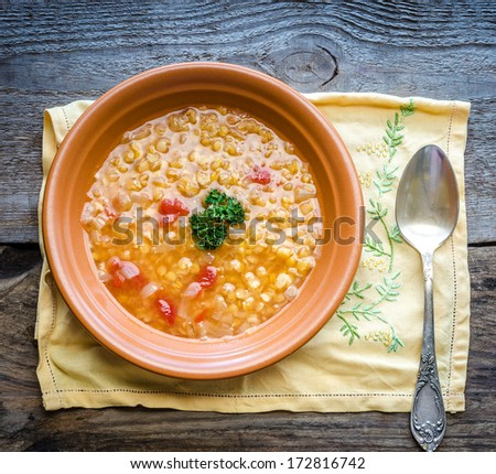 Soup with red lentils and bulgur - stock photo