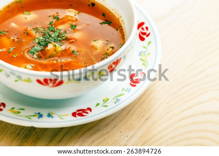 soup with vegetables and meat - stock photo