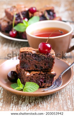 Sour cherry chocolate brownies, selective focus