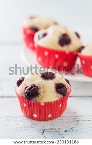 Sour Cherry Muffins,  made with fresh cherries - stock photo
