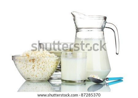 Sour cream and milk isolated on white
