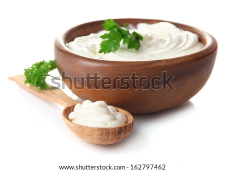Sour cream isolated on white