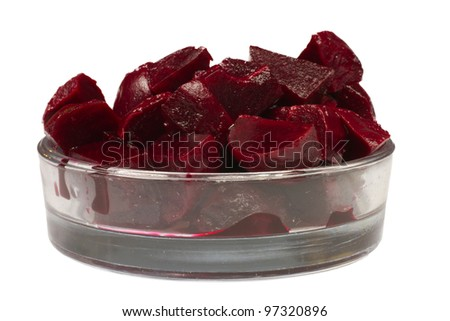 Sour small vegetable pieces ready for self serving - beetroot (canned, soft) - stock photo