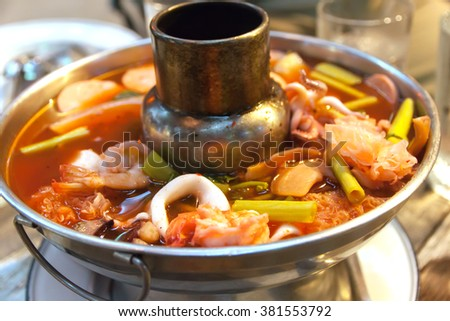 Sour soup with shrimp and water mimosa in Soup Pot