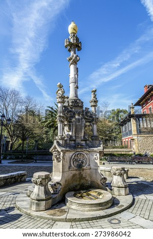 Source of the three pipes in Comillas Cantabria Spain. quotes modernist  - stock photo