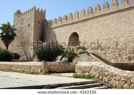 Sousse city wall from the 9th century AD well preserved founded by Carthagians - stock photo