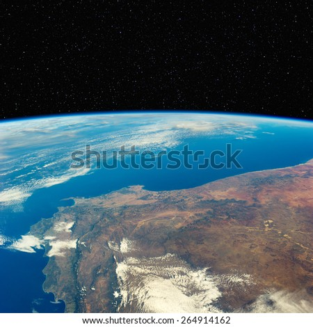 South Africa (Cape Town area)  from space with stars above. Elements of this image furnished by NASA.  - stock photo