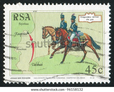 SOUTH AFRICA - CIRCA 1993: A stamp printed by South Africa, shows Dragoons, circa 1993