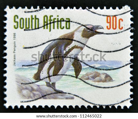 SOUTH AFRICA - CIRCA 1998: A stamp printed in RSA shows jackass penguin, circa 1998