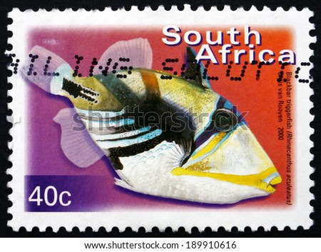 SOUTH AFRICA - CIRCA 2000: a stamp printed in South Africa shows Blackbar Triggerfish, Rhinecanthus Aculeatus, Marine Tropical Fish, circa 2000 - stock photo