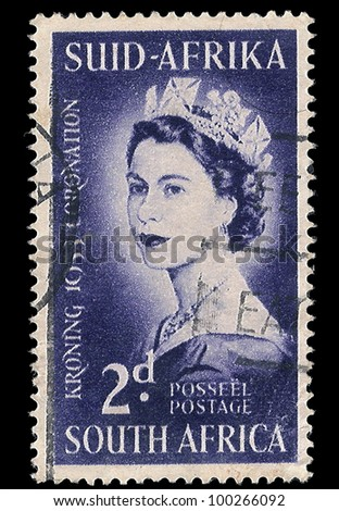SOUTH AFRICA - CIRCA 1953: A stamp Printed in South Africa shows Queen Elizabeth, to commemorate her coronation 1953, circa 1953 - stock photo
