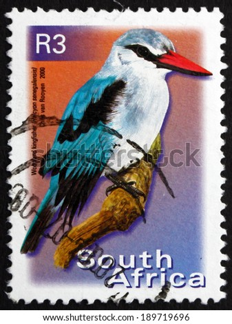 SOUTH AFRICA - CIRCA 2000: a stamp printed in South Africa shows Woodland Kingfisher, Halcyon Senegalensis, Tree Kingfisher, Bird, circa 2000 - stock photo