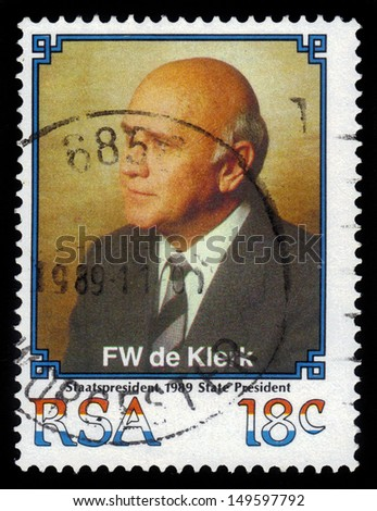 SOUTH AFRICA - CIRCA 1989: stamp printed by South Africa, shows Frederik Willem de Klerk,  was the seventh and last State President of apartheid-era South Africa, circa 1989 - stock photo