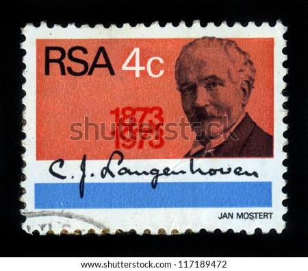 SOUTH AFRICA - CIRCA 1973: stamp printed by South Africa, shows portrait of  Cornelis Jacobus Langenhoven , He is to have written words for the South African Anthem Die Stem (The Call). , circa 1973 - stock photo