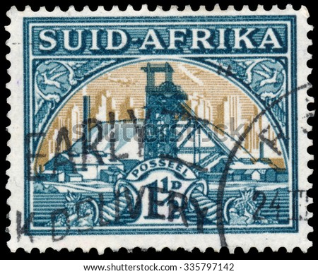 SOUTH AFRICA - CIRCA 1941: Stamp printed in South Africa shows Gold Mine Bilingual pair, circa 1941