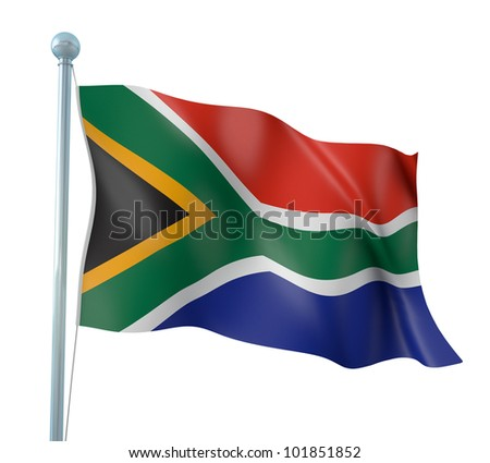South Africa Flag Detail Render - stock photo
