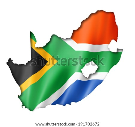South Africa flag map, three dimensional render, isolated on white