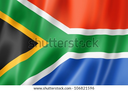 South Africa flag, three dimensional render, satin texture - stock photo