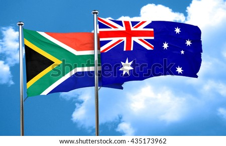South africa flag with Australia flag, 3D rendering