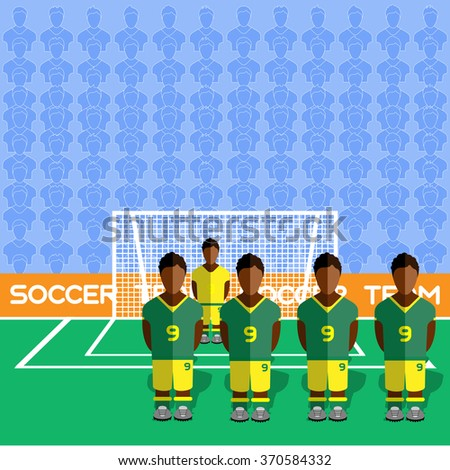 South Africa Football Club Soccer Players Silhouettes. Computer game Soccer team players big set. Sports infographic. Football Teams in Flat Style. Goalkeeper Standing in a Goal. Raster illustration. - stock photo