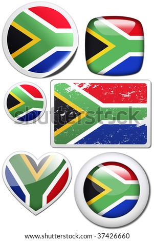 South Africa - Glossy and colorful stickers with reflection set - stock photo