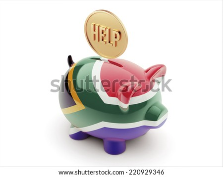 South Africa High Resolution Help Concept High Resolution Piggy Concept - stock photo