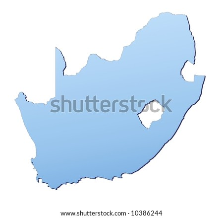South Africa map filled with light blue gradient. High resolution. Mercator projection.