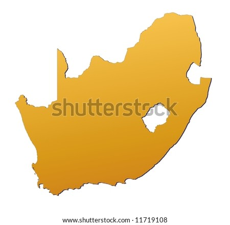 South Africa map filled with orange gradient. Mercator projection. - stock photo