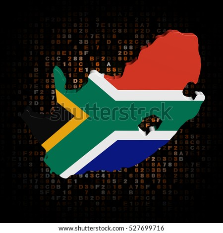 South Africa map flag on hex code 3d illustration
