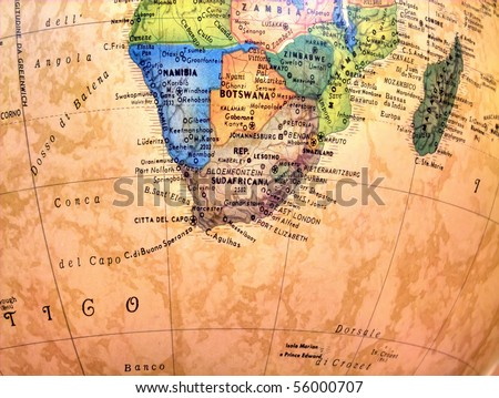 South Africa on globe. - stock photo