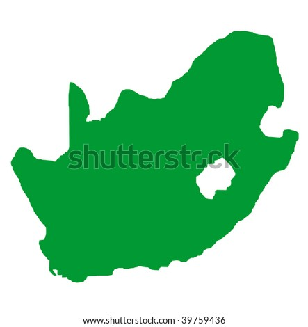 South Africa outline map in green isolated on white background. - stock photo