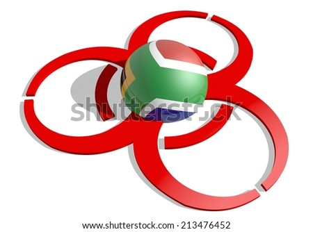 south africa republic flag textured sphere in the center of biohazard alert 3d red sign. suitable for ebola and others pandemic cases - stock photo