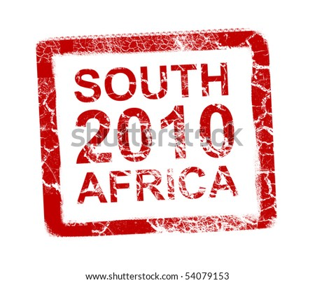 South africa 2010 stamp, Soccer world cup. - stock photo