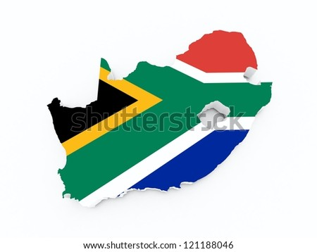 south african flag on 3d map - stock photo