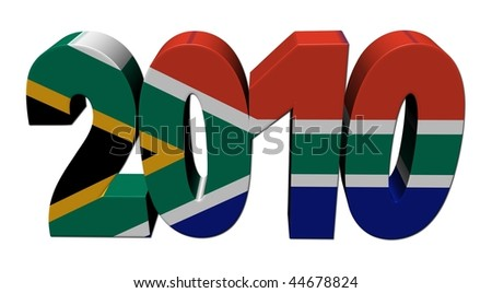 South African flag 2010 text 3d render on white illustration - stock photo