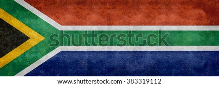 South African national flag, Banner version with distressed grungy patina  - stock photo